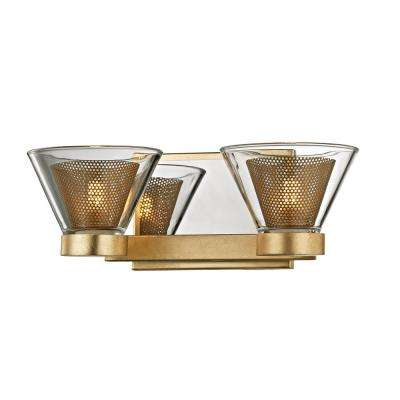 Wink 2-Light Gold Leaf 12.5 in. W LED Bath Light with Polished Chrome Accents and Clear Glass Shade