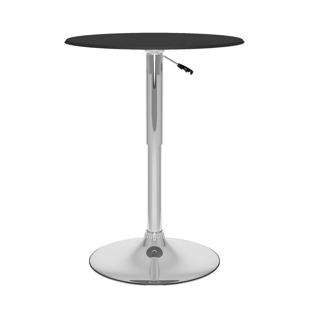 CorLiving Black Leatherette Adjustable Round Bar Table