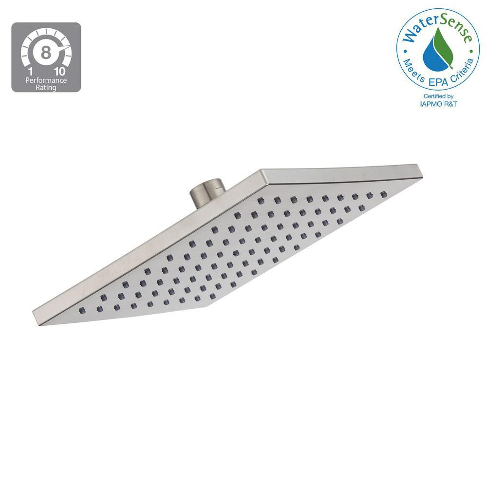 Glacier Bay Modern 1 Spray 8 In Square Raincan Fixed Showerhead Brushed Nickel