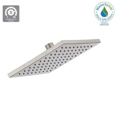 Modern 1-Spray 8 in. Square Raincan Showerhead in Brushed Nickel