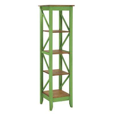 Jay 18.5 in. Green Wash Solid Wood Bookcase with 4-Shelves