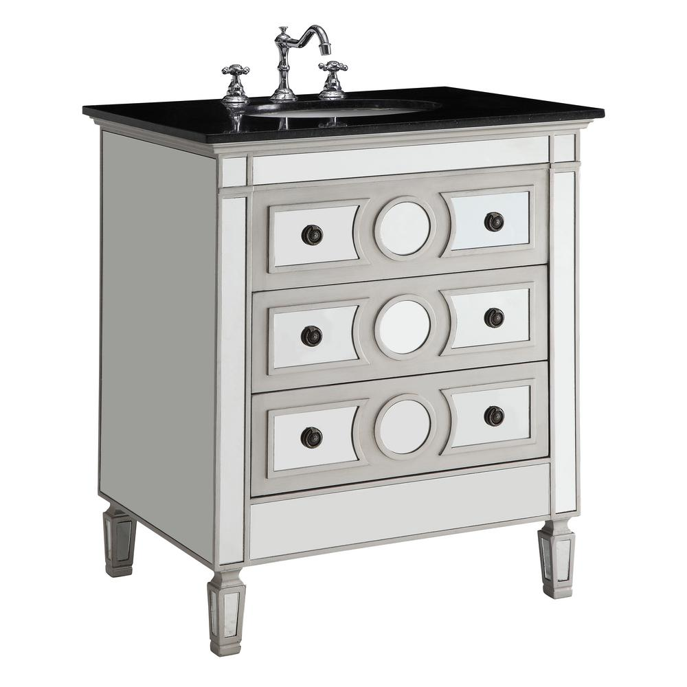 Acme Furniture Gaviya 30 in. W x 23 in. D x 36 in. H Bath Vanity in Mirrored Finish with Marble Vanity Top in Black with White Basin