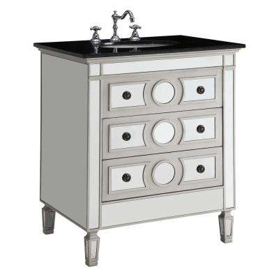 Gaviya 30 in. W x 23 in. D x 36 in. H Bath Vanity in Mirrored Finish with Marble Vanity Top in Black with White Basin