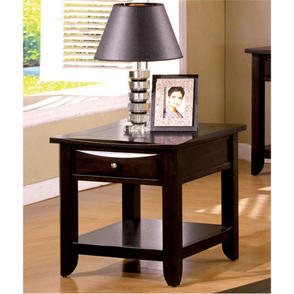 Furniture of america baldwin espresso end table cm4265dk e for Furniture of america