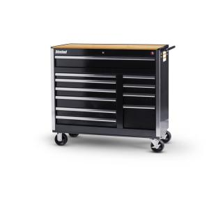 International Tech Series 42 inch 11-Drawer Roller Cabinet Tool Chest with Woodtop Black by International