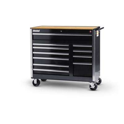 Tech Series 42 in. 11-Drawer Roller Cabinet Tool Chest with Woodtop Black