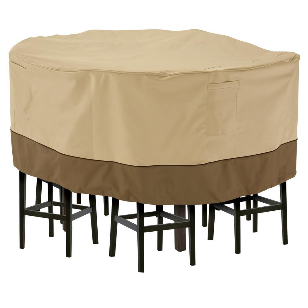 Classic Accessories Veranda Large Tall Round Patio Table And 8