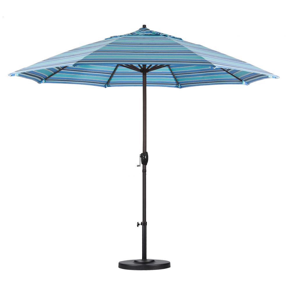 9 ft. Bronze Aluminum Pole Market Aluminum Ribs Auto Tilt Crank Lift Patio Umbrella in Dolce Oasis Sunbrella