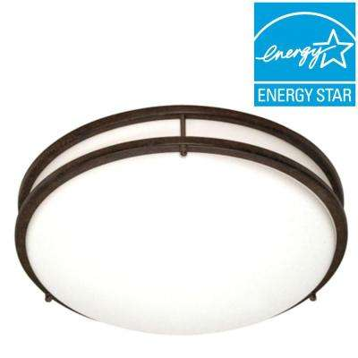 3-Light Bronze CFL Flush Mount with 18-Watt Bulbs