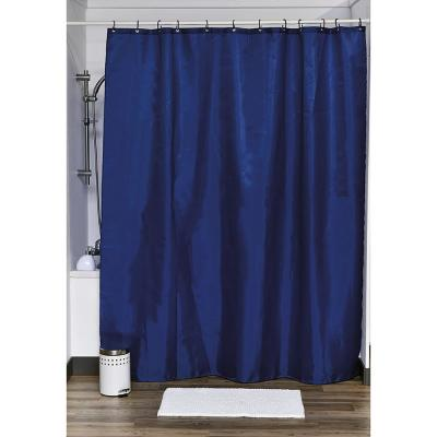 Design S Fabric Polyester Shower Curtain with 12 Matching Rings Navy Blue