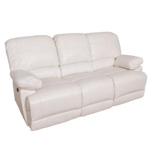 Corliving Lea White Bonded Leather Power Recliner With Usb