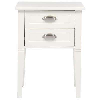 Amelia 2-Drawer White Wooden Accent Table
