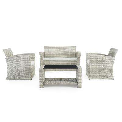 Magna Grey 4-Piece Wicker Patio Conversation Set with Grey Cushions