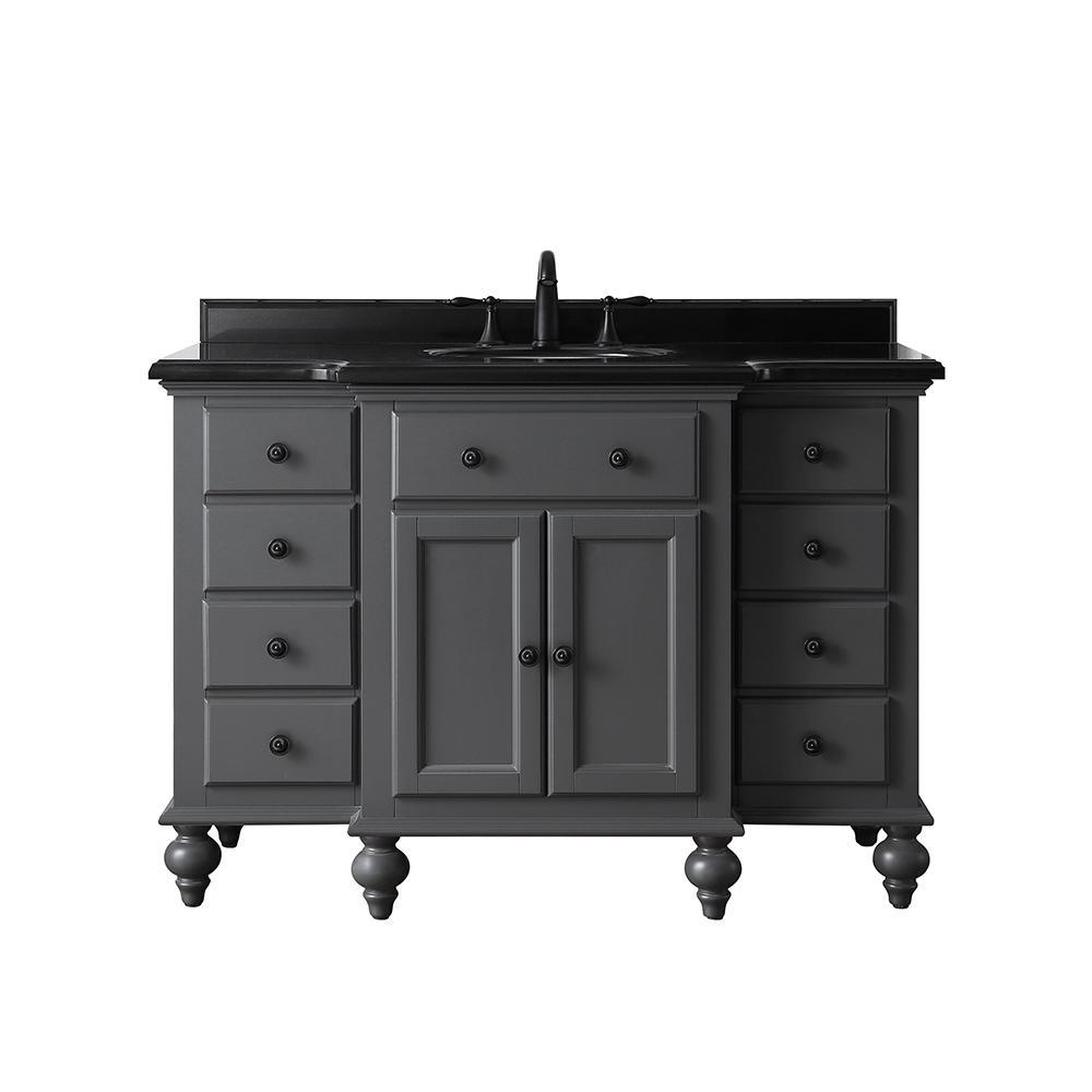 Heartside 48 in. W x 23 in. D Vanity in Dark Charcoal with Granite Vanity Top in Black with white Basin