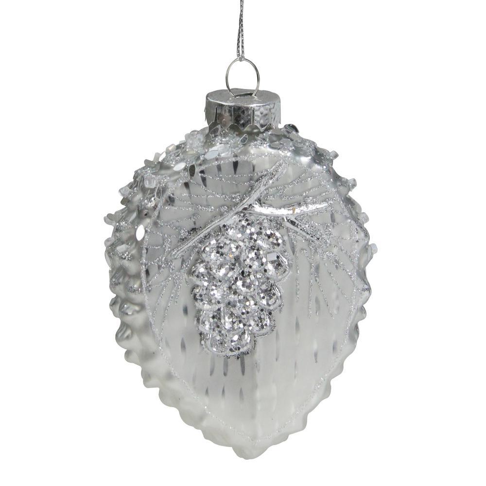 5 in. Glittery Silver Half Pine Cone Glass Christmas Ornament