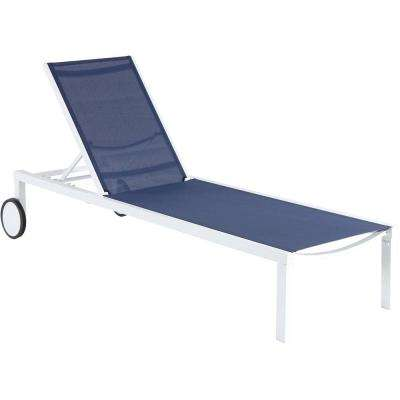 Windham White Frame Adjustable Sling Outdoor Chaise Lounge in Navy Blue Sling