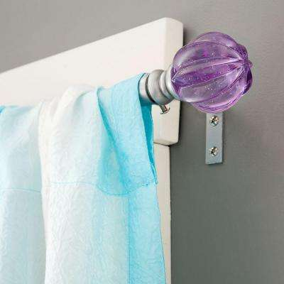 Estrella 48 in. - 86 in. Telescoping 5/8 in. Curtain Rod Kit in Silver with Sparkled Fluted Ball Finial