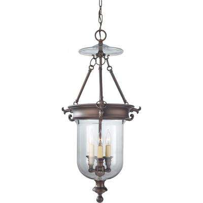 Luminary 4-Light Oil Rubbed Bronze Hall Chandelier with Glass Shade