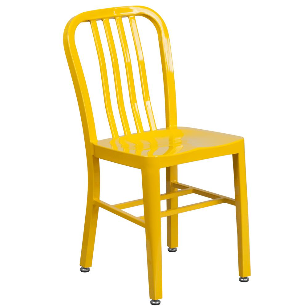 Carnegy Avenue Metal Outdoor Dining Chair in Yellow-CGA-CH-6-YE-HD -  The Home Depot