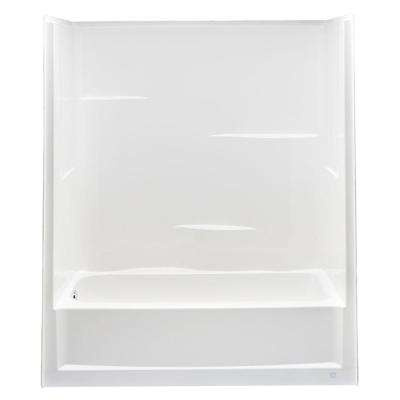 Everyday 60 in. x 30 in. x 72 in. Left Drain 1-Piece Bath and Shower Kit in White