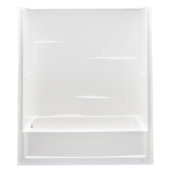 Everyday 60 in. x 30 in. x 72 in. 1-Piece Bath and Shower Kit with Left Drain in White