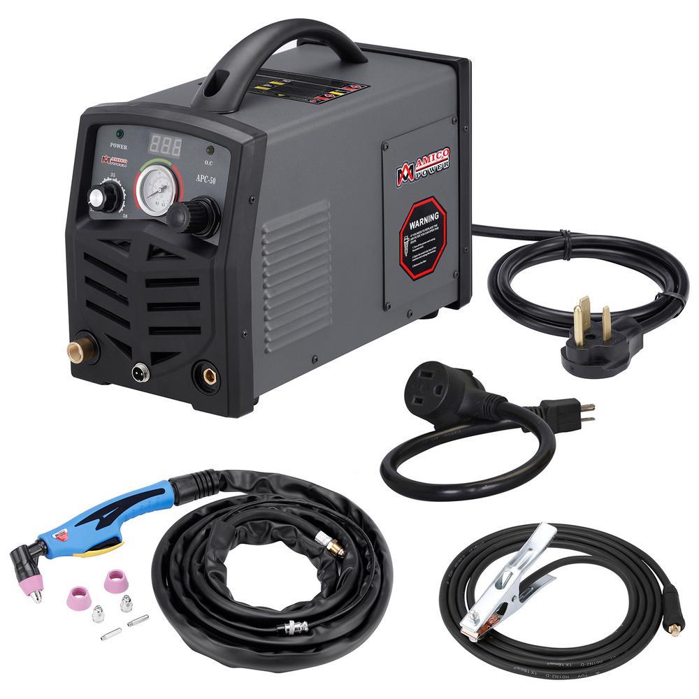 AMICO POWER APC-50, 50 Amp Plasma Cutter, 115-Volt/230-Volt Dual Voltage Compact Metal Cutting Machine, 3/4 in. Clean Cut