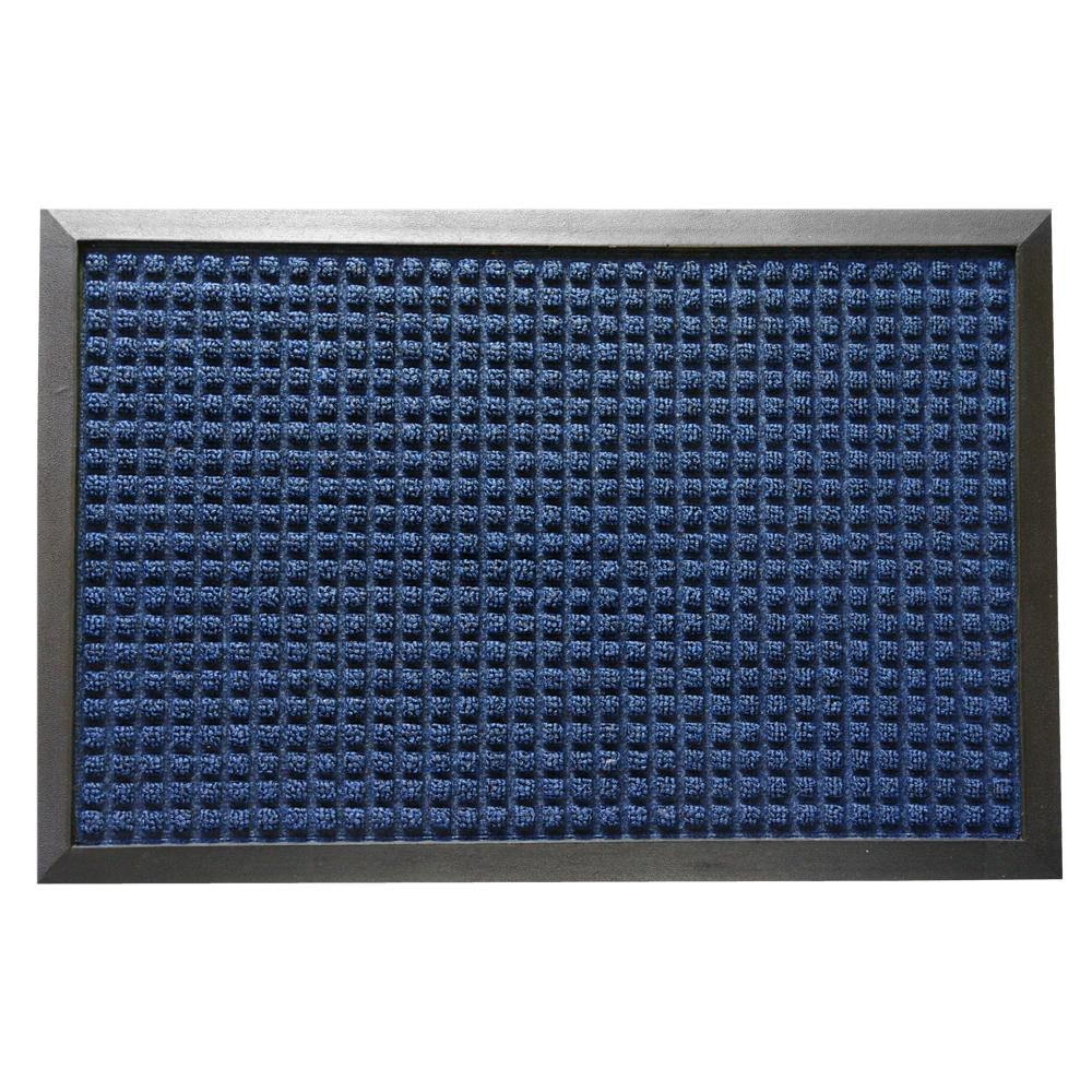 Rubber-Cal Nottingham Blue 24 in. x 36 in. Rubber Backed Carpet Mat