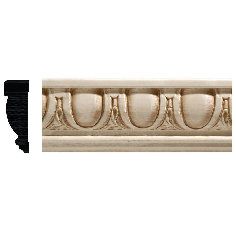 Ornamental Mouldings 27/32 in. x 2-1/2 in. White Hardwood Egg and Dart Chair Rail Moulding