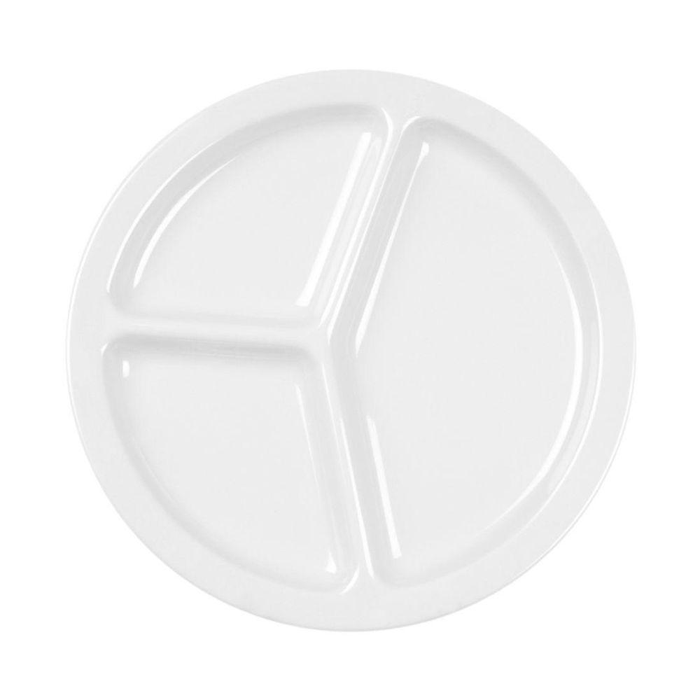 Coleur 10 in. 3-Compartment Plate in White (12-Piece)