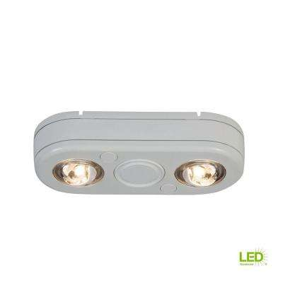 Revolve White Twin Head Outdoor Integrated LED Security Flood Light at 3500K Bright White, Switch Controlled