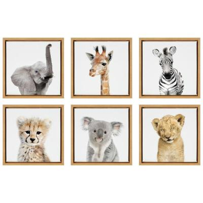 "Sylvie ""Studio Animals"" by Amy Peterson Art Studio Framed Canvas Wall Art Set 13 in. x 13 in."