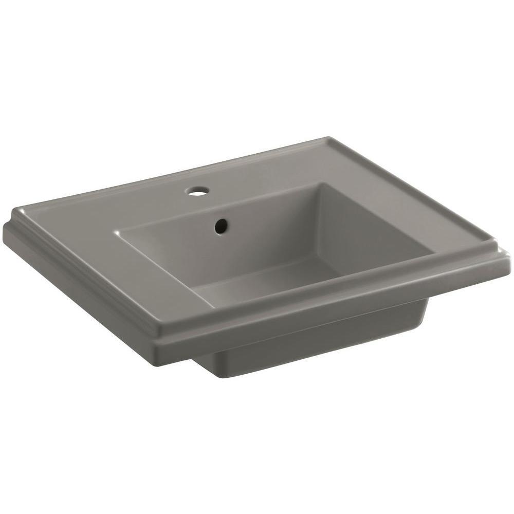 Tresham 7.3125 in. Fireclay Pedestal Sink Basin in Cashmere with Overflow Drain