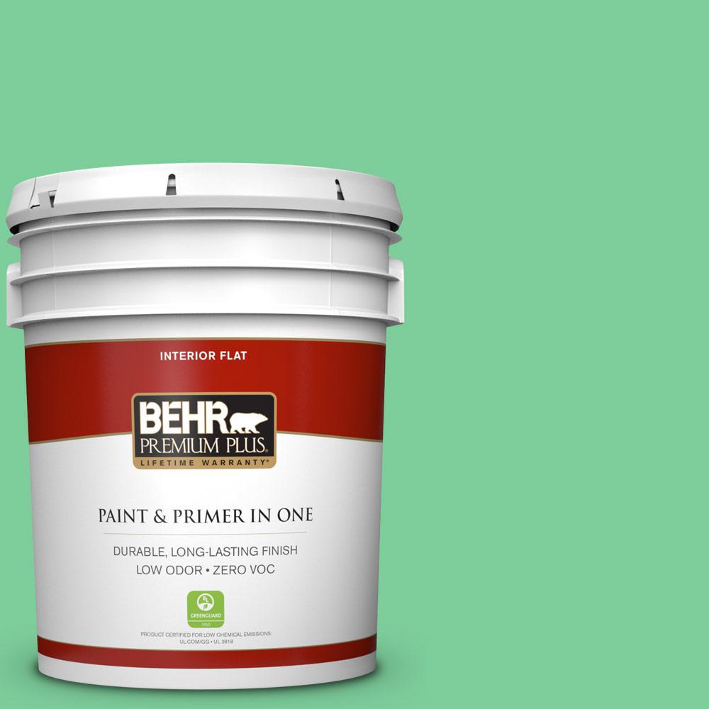 BEHR Premium Plus 5-gal. #460B-4 Garden Glow Zero VOC Flat Interior Paint