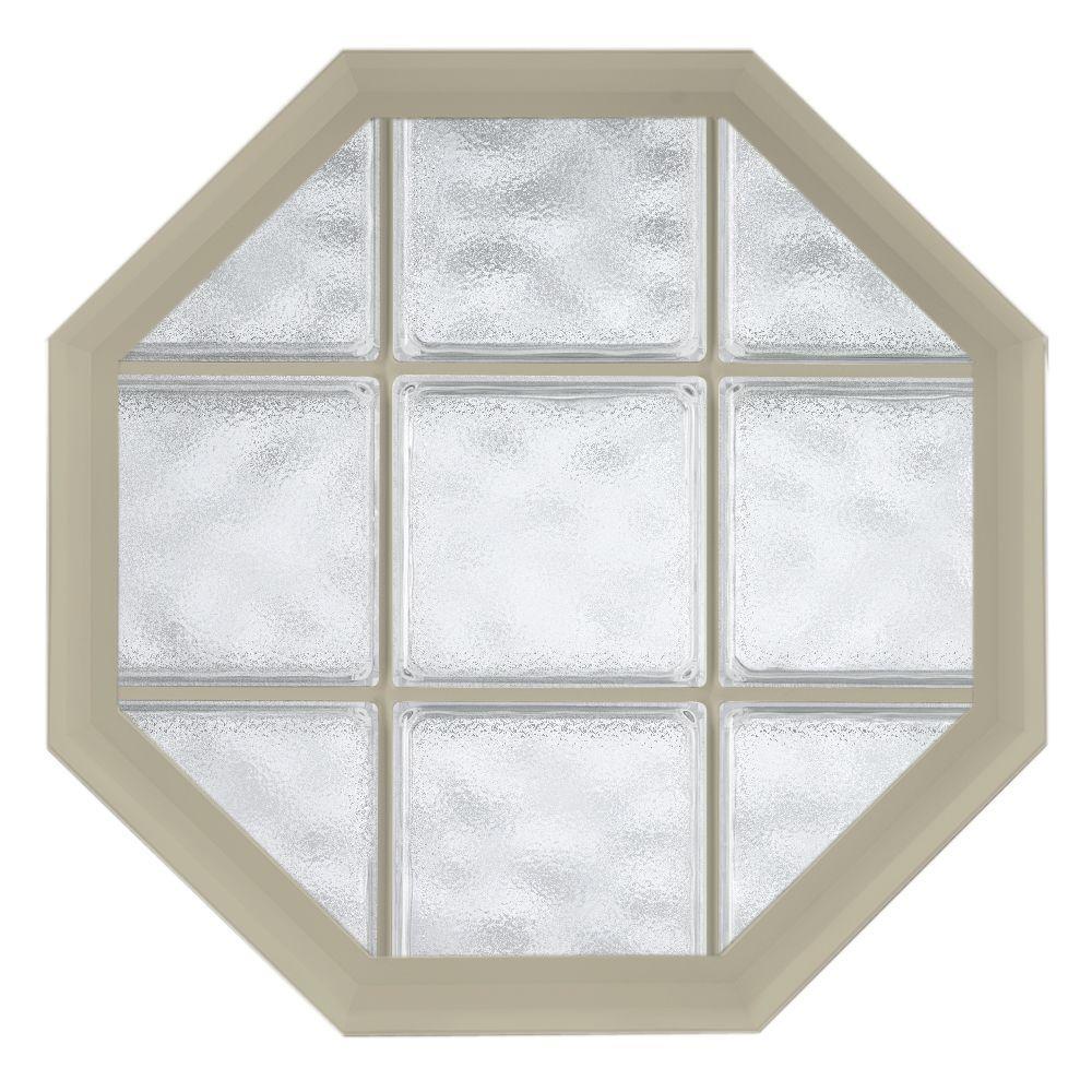 26 in. x 34 in. Acryilc Block Fixed Octagon Vinyl Window - Tan