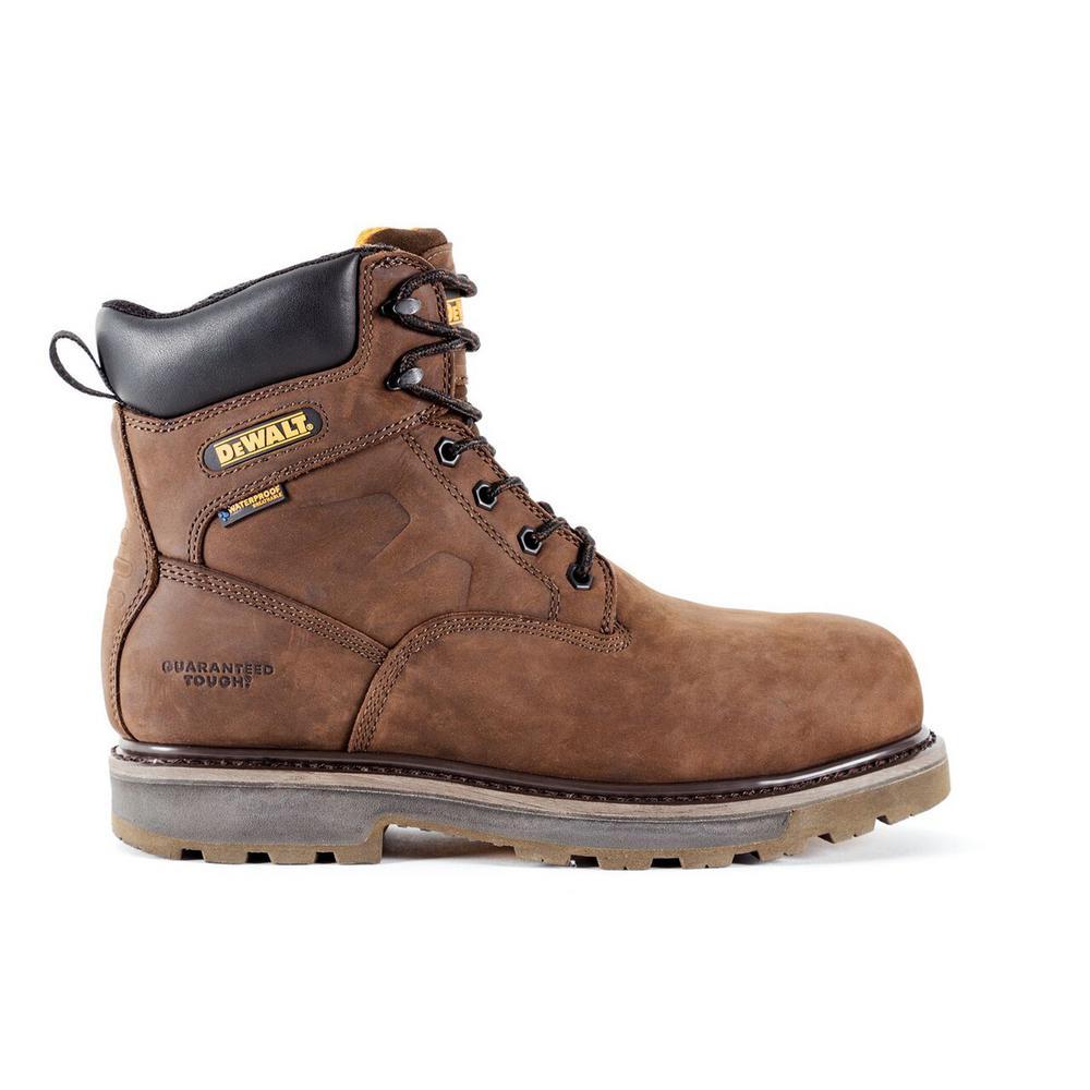 Tungsten Men Dark Brown Leather Puncture Resistant Aluminum Toe Waterproof 6 in. Work Boot