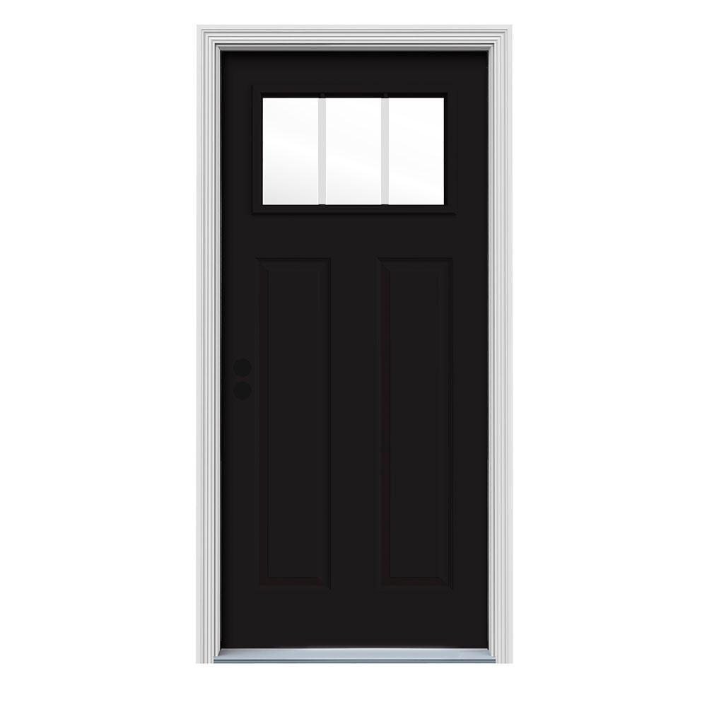 34 in. x 80 in. Black Right-Hand Inswing 3-Lite Craftsman Painted Steel Prehung Front Door