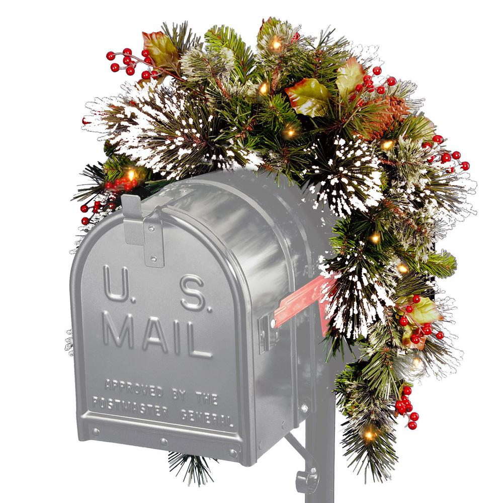 National Tree Company 36 in. Wintry Pine Mailbox Swag with Battery Operated Warm White LED Lights