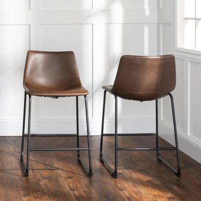 26 in. Brown Industrial Faux Leather Counter Stools (Set of 2)