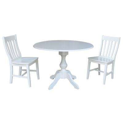 Sophia 3-Piece White Drop-leaf Dining Set with 2-Caf Chairs