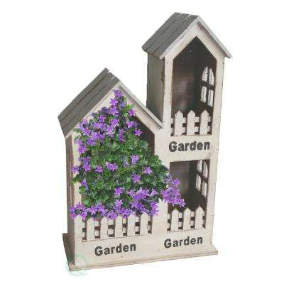11.5 in. W x 5.5 in. D x 17.6 in. H Wood 3 Section Wall Planter