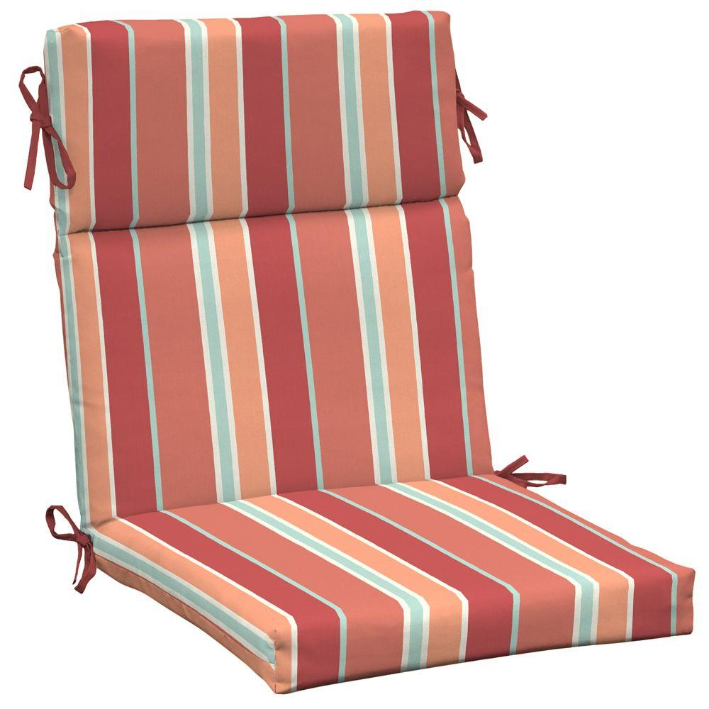 Arden Eden Stripe Coral High Back Outdoor Chair Cushion-DISCONTINUED