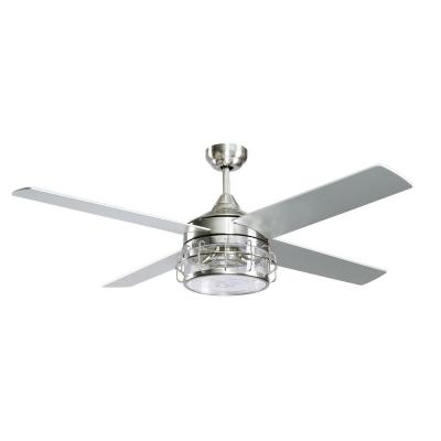 Kavir 52 in. Indoor Chrome Downrod Mount Industry Chandelier Ceiling Fan with Light and Remote Control