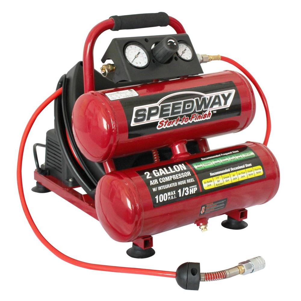 SPEEDWAY 2 Gal. Twin Stack Compressor with 25 ft. Auto Rewind Hose