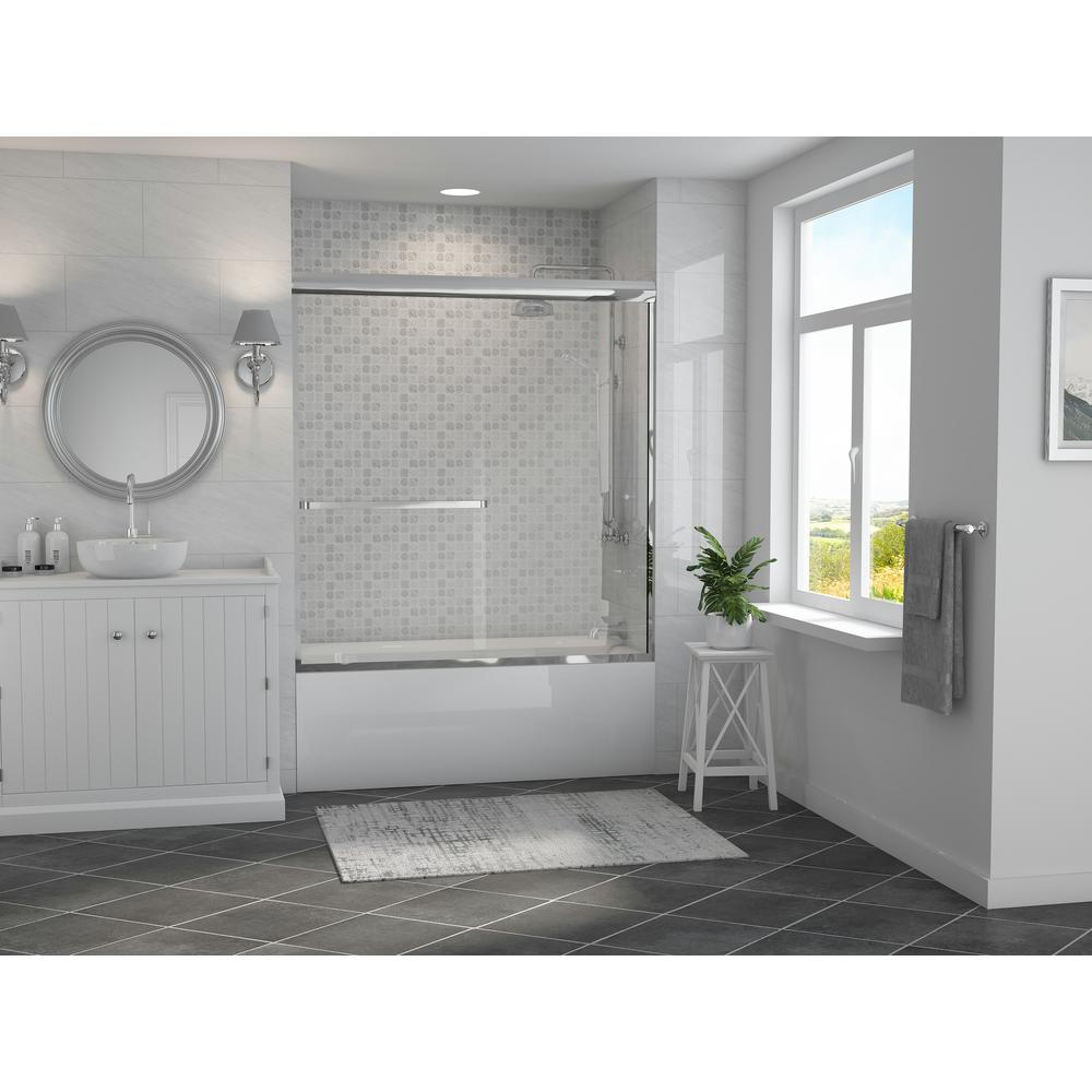 Coastal Shower Doors Paragon 3 16 B 64 In X 57 In Semi Framed Sliding Tub Door With Towel Bar In Chrome And Clear Glass 5164 57b C The Home Depot