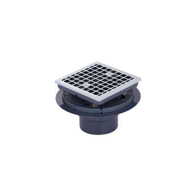 Brass and PVC Square Shower Drain and Strainer in Polished Chrome