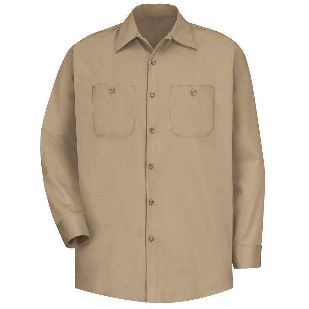 Red Kap Mens Size Xl Khaki Wrinkle Resistant Cotton Work Shirt