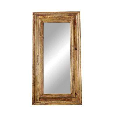 Casual Country Mango Wood Framed Rectangle Brown Floor Mirror