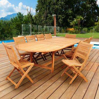 Baker 11-Piece Teak Double Extendable Oval Patio Dining Set