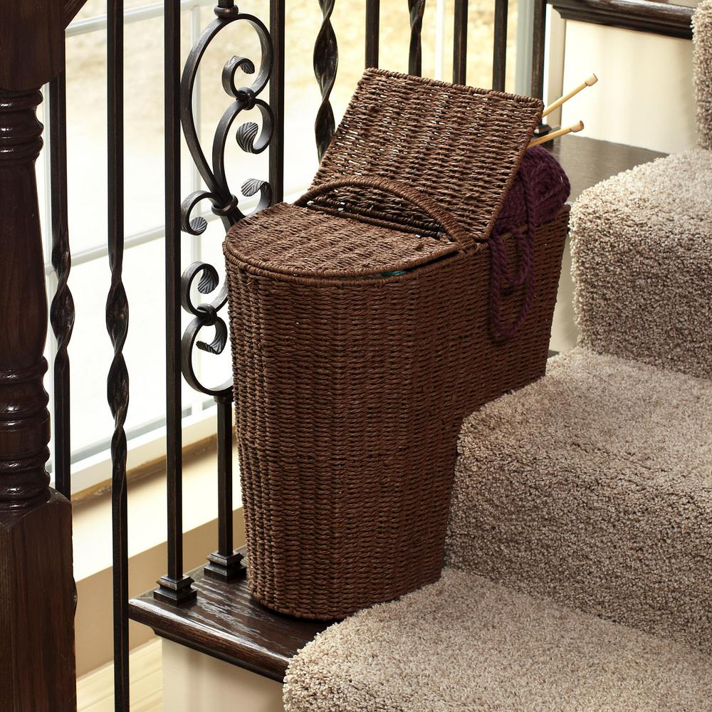 Household Essentials Rich Brown Stained Paper Rope Stair Step Basket With  Round Front And Lid