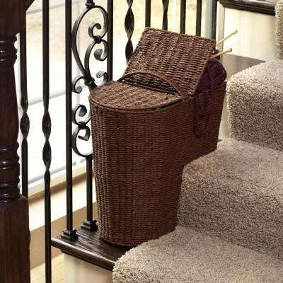 Rich Brown Stained Paper Rope Stair Step Basket with Round Front and Lid